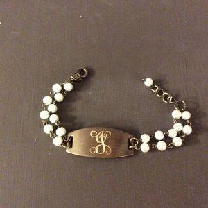 Jewelry - Initial J Pearl and Metal Bracelet